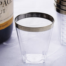 12 Pack 2oz Silver Rimmed Plastic Disposable Shot Glasses