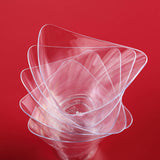 12 Pack Clear 4oz Curved Triangular Chambury Plastic Disposable Dessert Cup