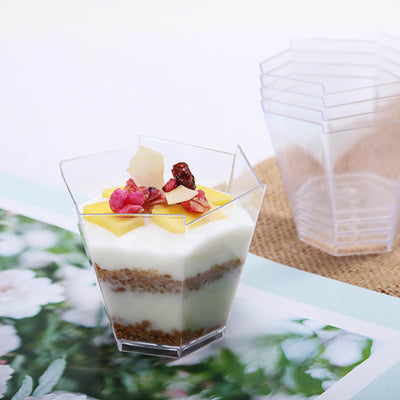 12 Pack 3oz Clear Waved Chambury Plastic Disposable Hexagonal Dessert Cups
