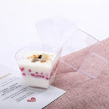 12 Pack 3oz Clear Waved Chambury Plastic Disposable Square Dessert Cups