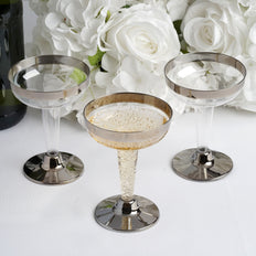12 Pack 5oz Silver Rimmed Plastic Disposable Martini Glasses