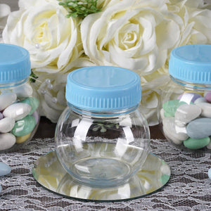 Set of 12 | 6 Oz Plastic Candy Jars Favor Container With Blue Caps