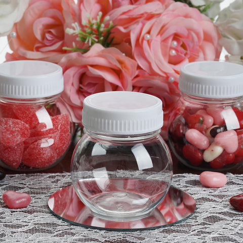 Set of 12 6 Oz Plastic Candy Jars Favor Container With White Caps