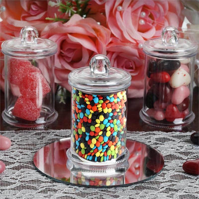 Set of 12 | 3 Oz Plastic Candy Jars Favor Container With Clear Lid