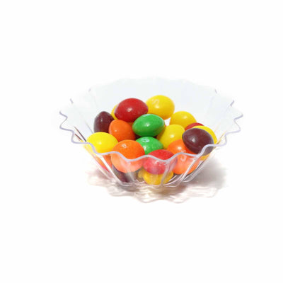 25 Pack 2oz Clear Mini Seashell Plastic Round Disposable Bowl