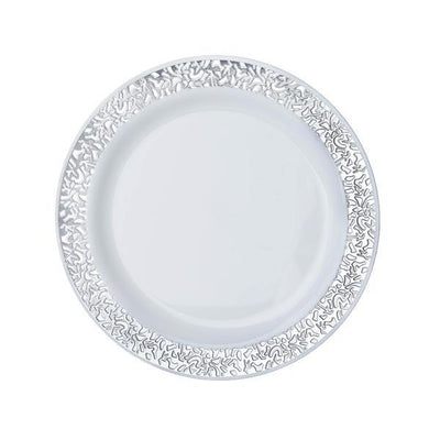 "10 Pack 6"" White Disposable Round Salad Dessert Plates With Silver Lace Design Rim"