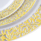 "10 Pack - White with Gold Trimmed 7.5"" Round Disposable Plate - Designer Lace collection"