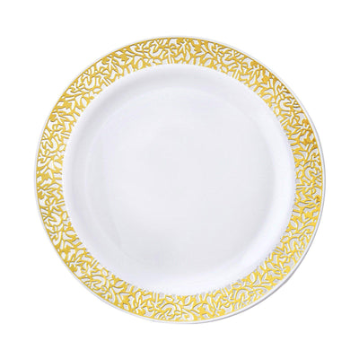 "10 Pack 7"" White Disposable Round Salad Dessert Plates With Gold Lace Rim"