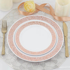 Set of 10 - 7inch White Round Disposable Plastic Salad Dessert Plates with Rose Gold Lace Design Rim