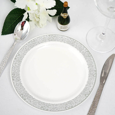 "10 Pack 7"" White Round Disposable Plastic Salad Dessert Plates With Silver Lace Rim"
