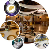 "10 Pack | 9"" White Round Disposable Plastic Dinner Plates With Gold Lace Design Rim"