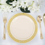 Plastic Dinner Plates with Gold Lace Design Rim, Plastic Dinnerware