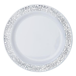 "10 Pack 9"" White Disposable Round Dinner Plates With Silver Lace Design Rim"