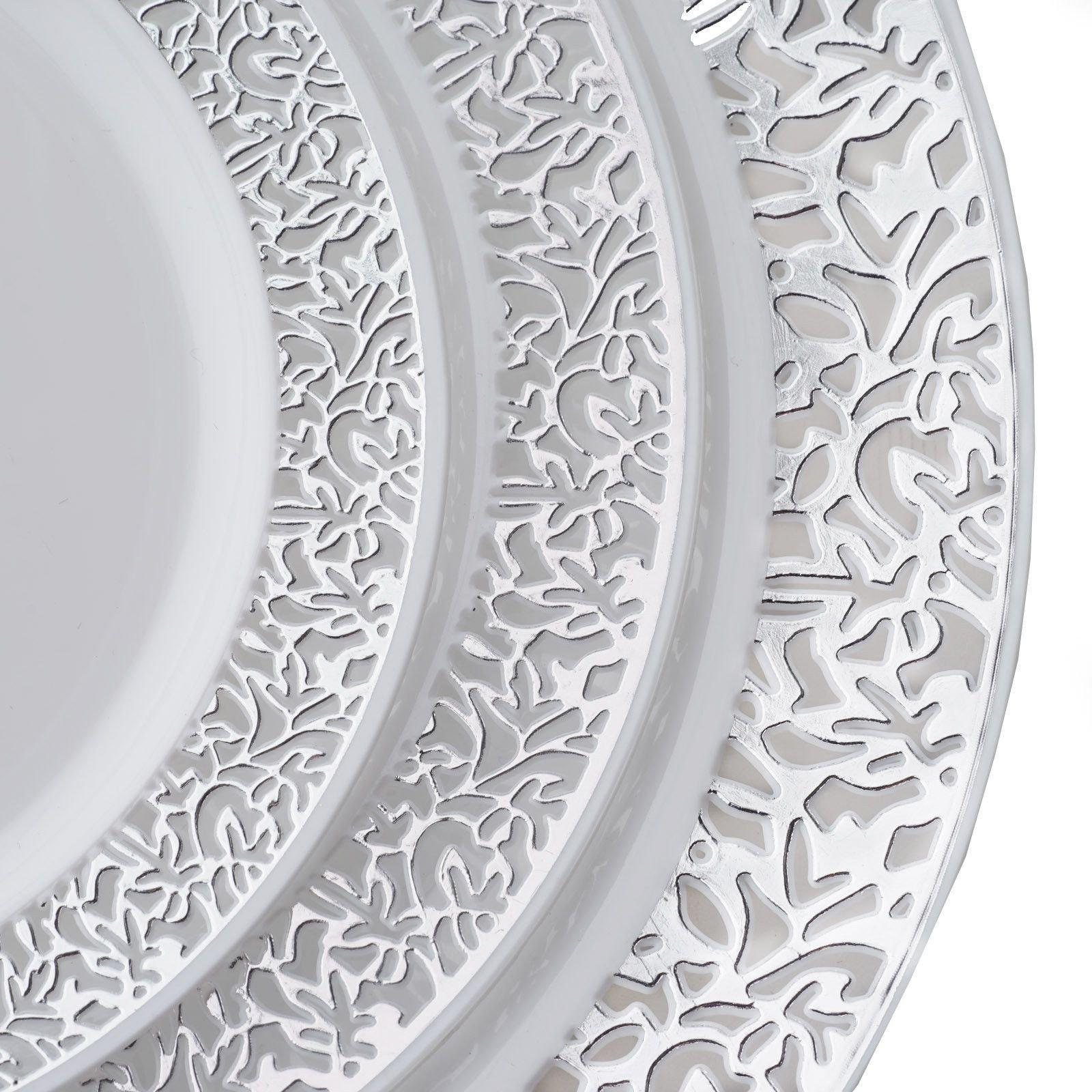 10 Pack - White with Silver Trimmed 9  Round Disposable Plate - Designer Lace collection ...  sc 1 st  Tablecloths Factory & 10 Pack 9