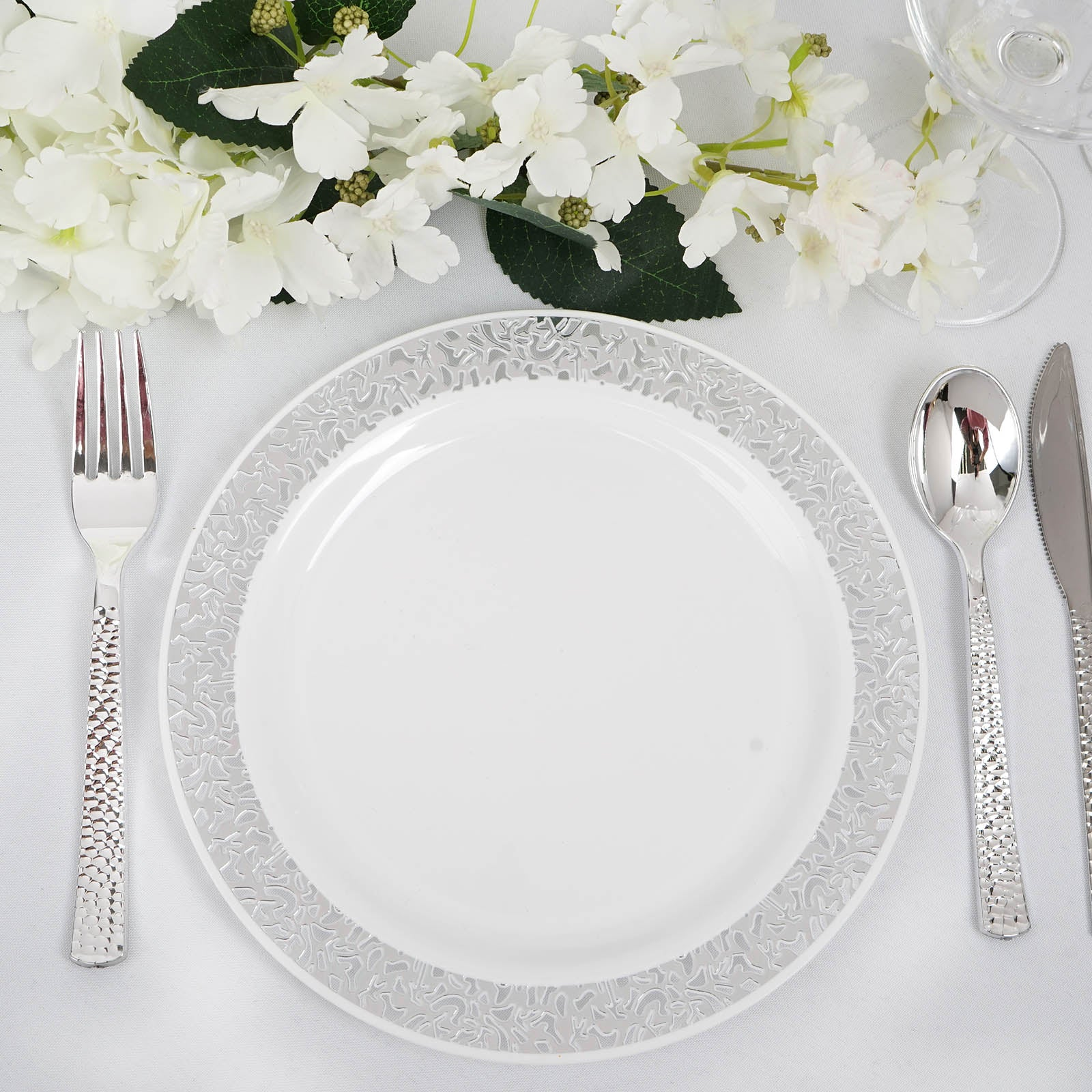 10 Pack 9\  White Disposable Round Dinner Plates With Silver Lace Design Rim  sc 1 st  Tablecloths Factory & 10 Pack 9\