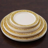 "10 Pack 6"" Ivory Disposable Round Salad Dessert Plates With Gold Lace Rim"
