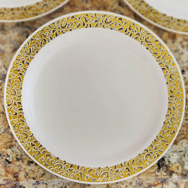 10 Pack 10  Ivory Disposable Round Dinner Plates With Gold Lace Design Rim & Disposable Plates u2013 tableclothsfactory.com