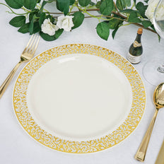 "10 Pack 10"" Ivory Round Disposable Plastic Dinner Plates With Gold Lace Design Rim"
