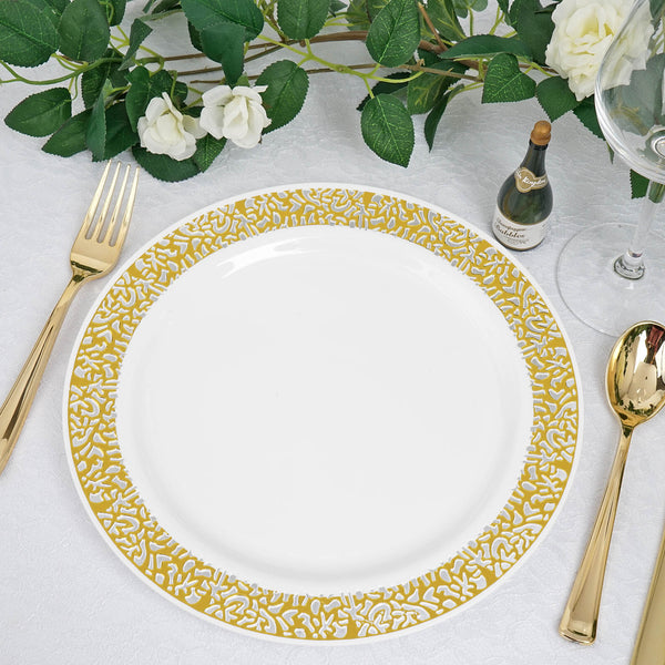 "10 Pack | 10"" White Round Disposable Plastic Dinner Plates With Gold Lace Design Rim"