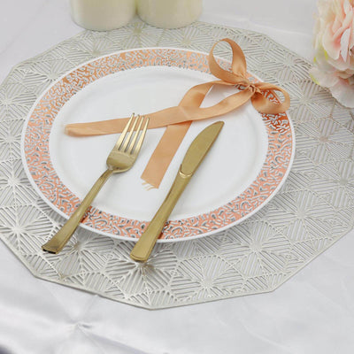 "10 Pack | 10"" White Round Disposable Plastic Dinner Plates With Rose Gold Lace Design Rim"