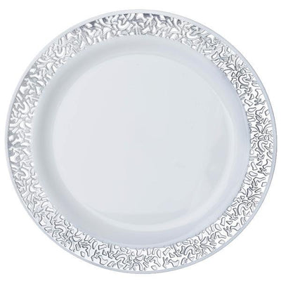 "10 Pack 10"" White Disposable Round Dinner Plates With Silver Lace Design Rim"