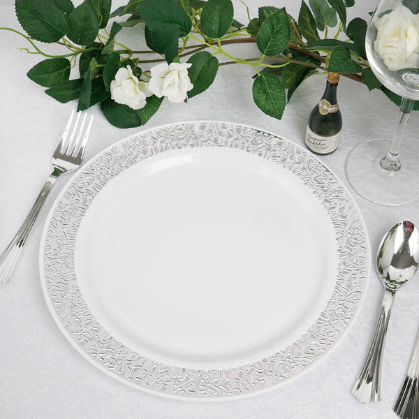 "10 Pack | 10"" White Round Disposable Plastic Dinner Plates With Silver Lace Design Rim"
