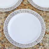 "10 Pack - White with Silver Trimmed 10.25"" Round Disposable Plate - Designer Lace collection"