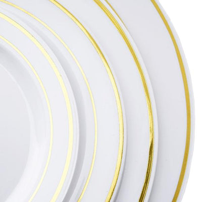 "10 Pack 6"" White Disposable Round Salad Dessert Plates With Gold Rim"