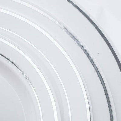 "10 Pack 6"" White Disposable Round Salad Dessert Plates With Silver Rim"