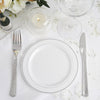 "10 Pack 6"" White Round Disposable Plastic Salad Dessert Plates With Silver Rim"