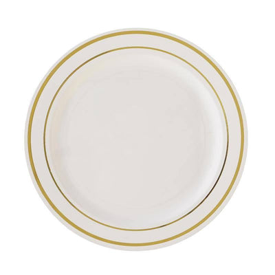 "10 Pack 8"" Ivory Disposable Round Salad Dessert Plates With Gold Rim"