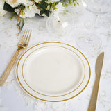 "10 Pack 8"" Ivory Disposable Plastic Gold Tres Chic Round Salad Dessert Plates"
