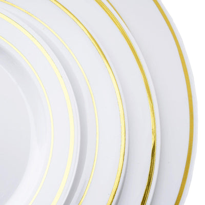 "10 Pack - White with Gold 7.5"" Round Disposable Plate - Tres Chic Collection"