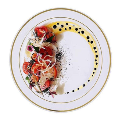 "10 Pack 8"" White Disposable Gold Tres Chic Round Salad Dessert Plates"