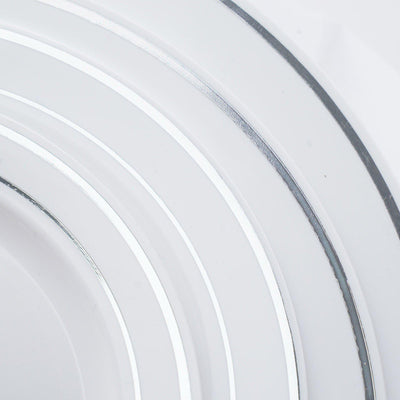 "10 Pack - White with Silver 7.5"" Round Disposable Plate - Tres Chic Collection"