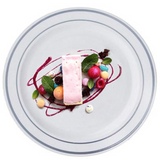 "10 Pack 8"" White Disposable Silver Tres Chic Round Salad Dessert Plates"