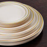 "10 Pack - Ivory with Gold 9"" Round Disposable Plate - Tres Chic Collection"