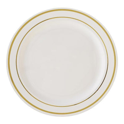 "10 Pack 9"" Ivory Disposable Round Dinner Plates With Gold Rim"