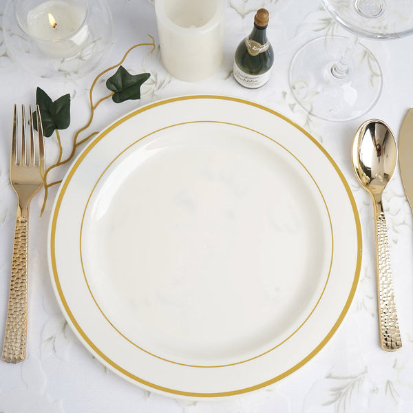 "10 Pack | 9"" Ivory Round Disposable Plastic Dinner Plates With Gold Rim"