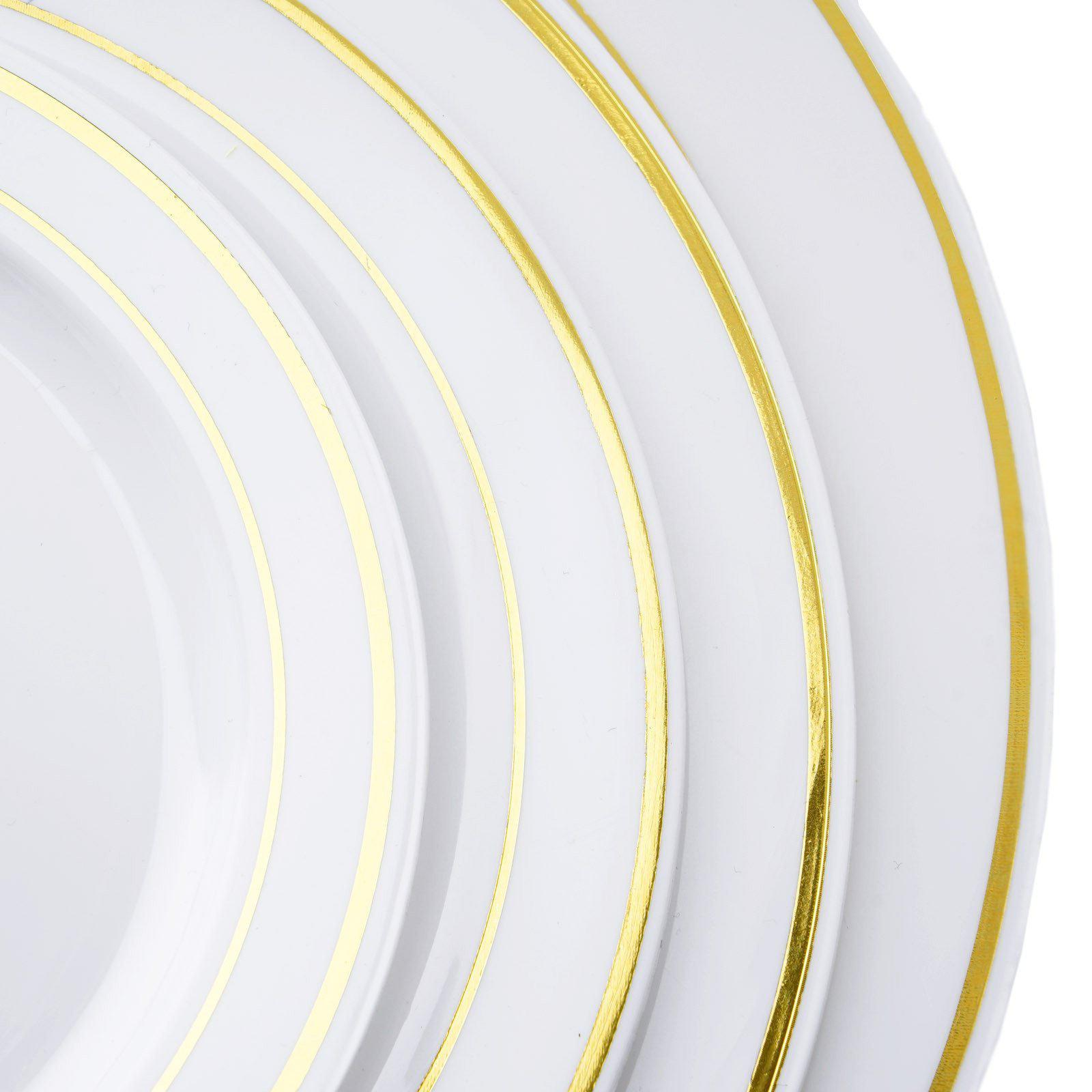 10 Pack - White with Gold 9  Round Disposable Plate - Tres Chic Collection ...  sc 1 st  Tablecloths Factory & 10 Pack 9