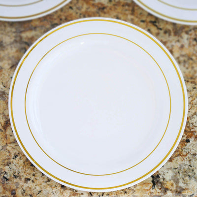 "10 Pack - White with Gold 9"" Round Disposable Plate - Tres Chic Collection"
