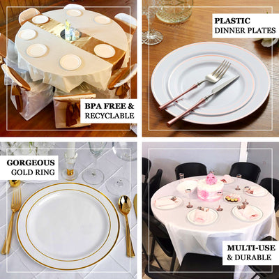 "10 Pack | 10"" White Round Disposable Plastic Dinner Plates With Gold Rim"