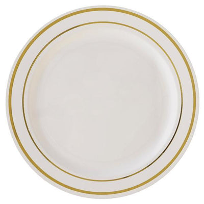 "10 Pack 10"" Ivory Disposable Round Dinner Plates With Gold Rim"