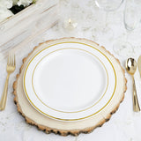 "10 Pack 10"" White Round Disposable Plastic Dinner Plates With Gold Rim"