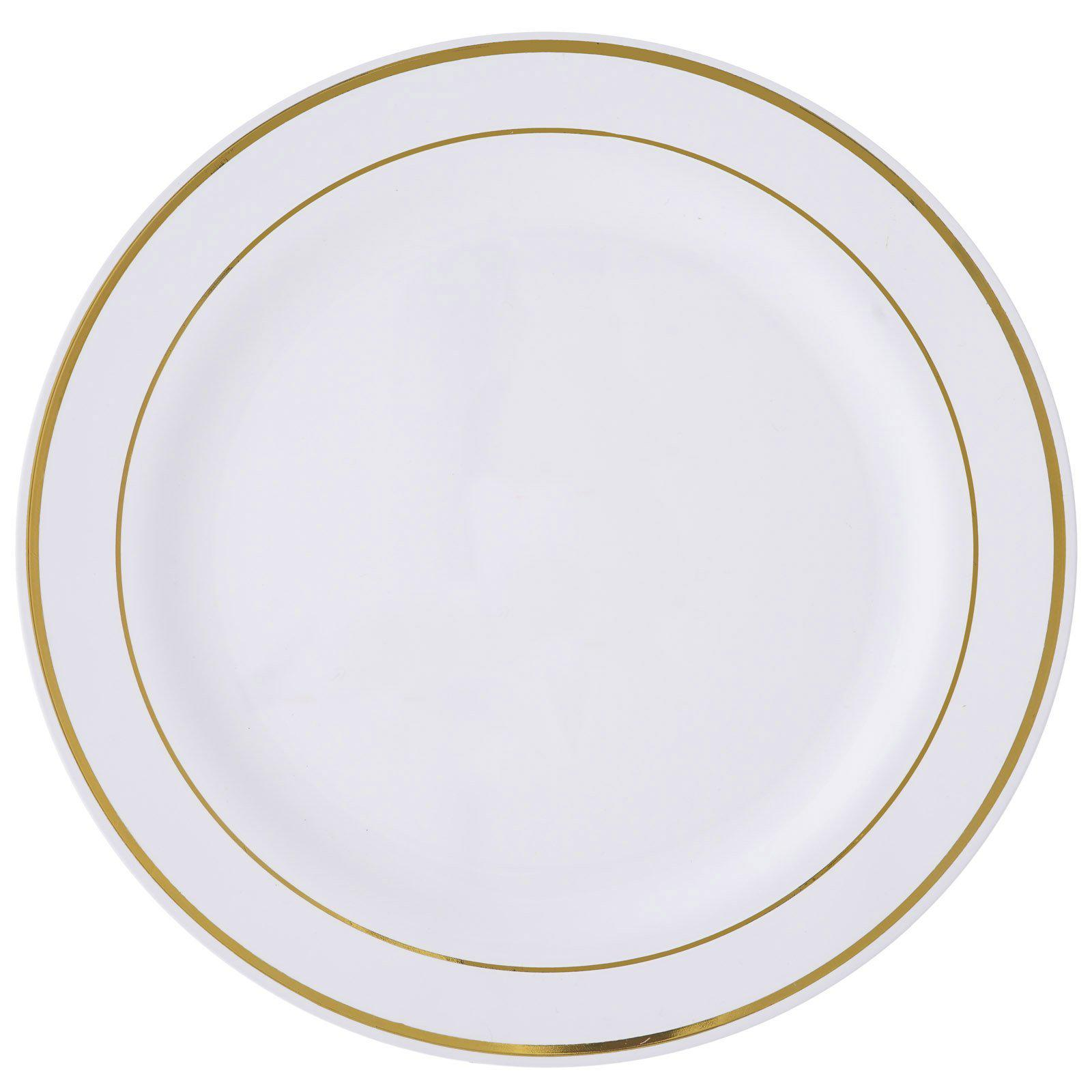 10 Pack 10\  White Disposable Round Dinner Plates With Gold Rim  sc 1 st  Tablecloths Factory & 10 Pack 10\