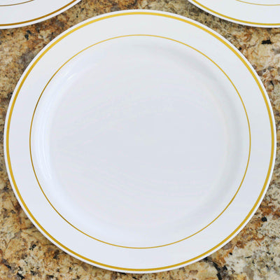 "10 Pack - White with Gold 10.25"" Round Disposable Plate - Tres Chic Collection"