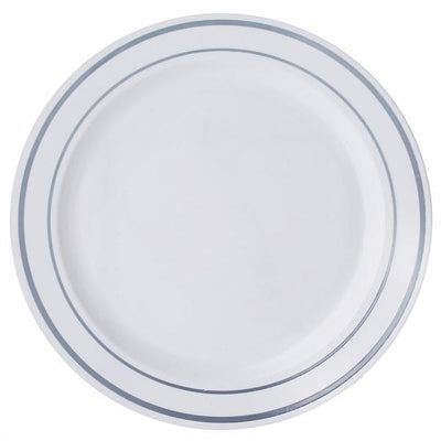 "10 Pack 10"" White Disposable Silver Tres Chic Round Dinner Plates"