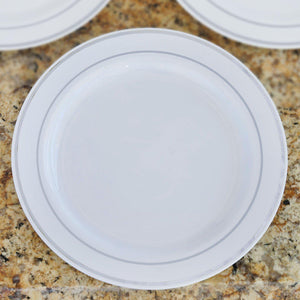 "10 Pack - White with Silver 10.25"" Round Disposable Plate - Tres Chic Collection"
