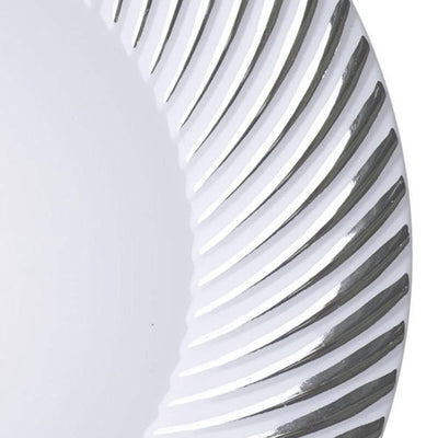 "10 Pack - White with Silver 7"" Round Disposable Plate - Twirl Collection"