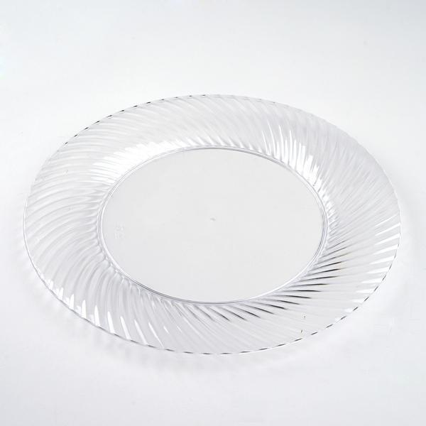 10 Pack 9\  Clear Twirl Plastic Round Disposable Dinner Plates & 10 Pack 9\